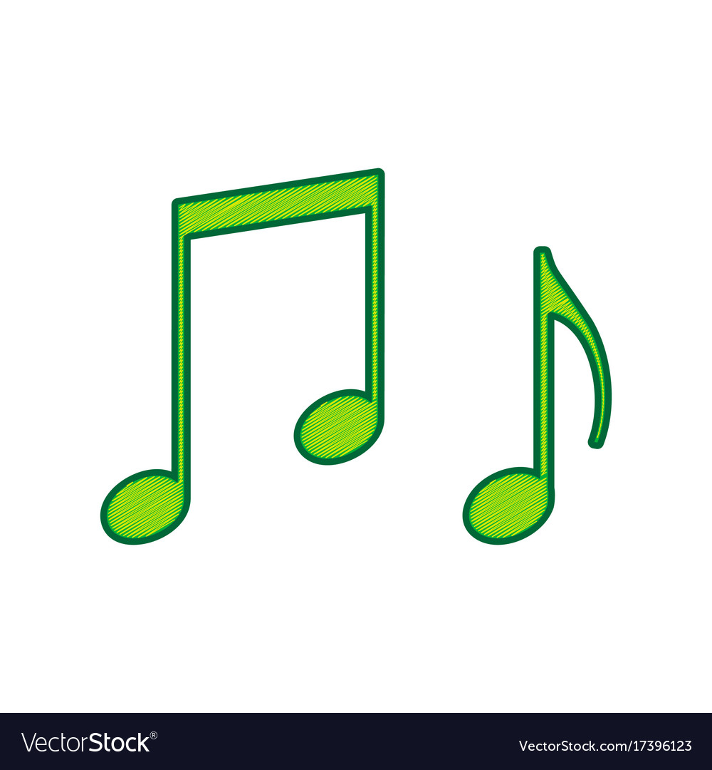 music notes sign lemon scribble icon on royalty free vector