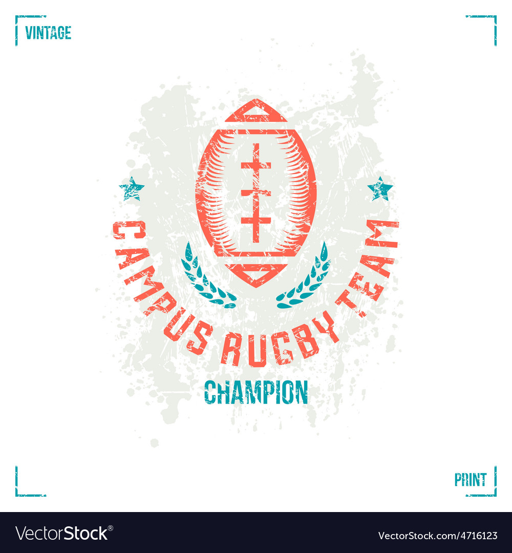 Rugby team ball emblem vector image
