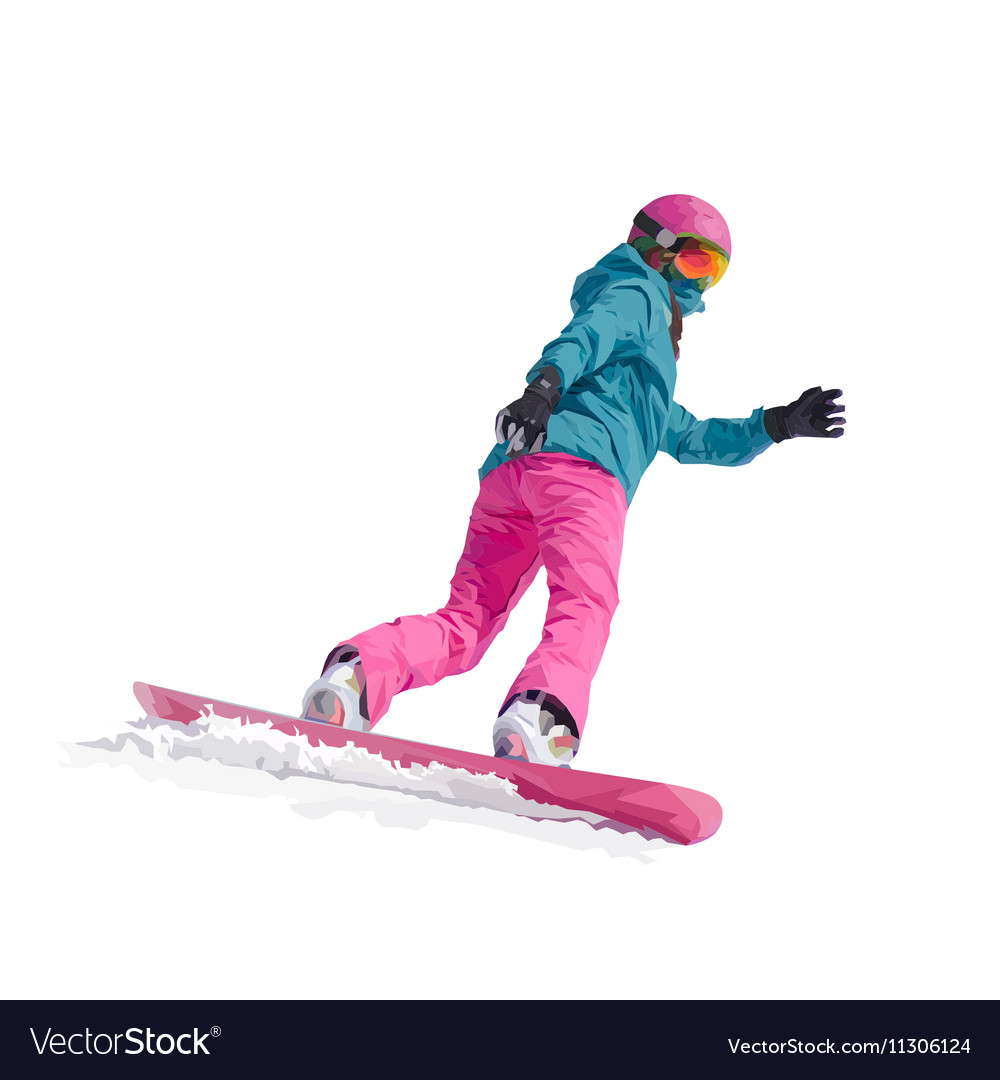 A young girl snowboarder vector image
