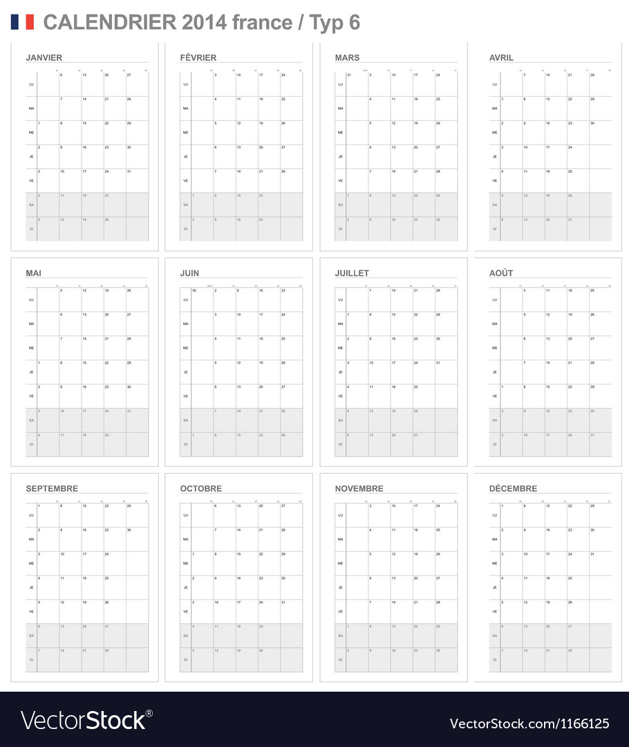 Calendar 2014 France Type 6 vector image