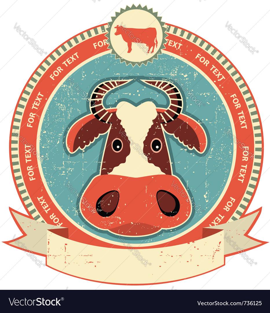 Cow head label vector image