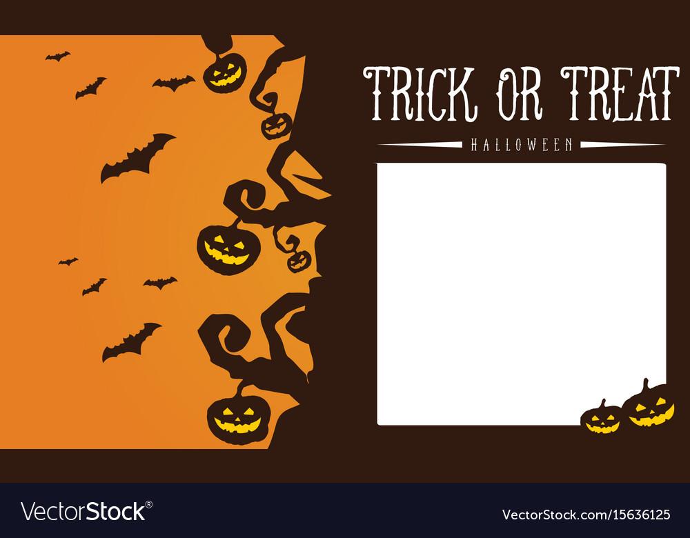 Halloween pumpkin and bat greeting card vector image