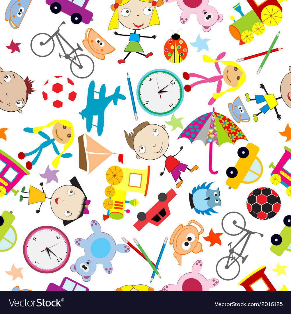 Seamless pattern with toys background for kids vector image