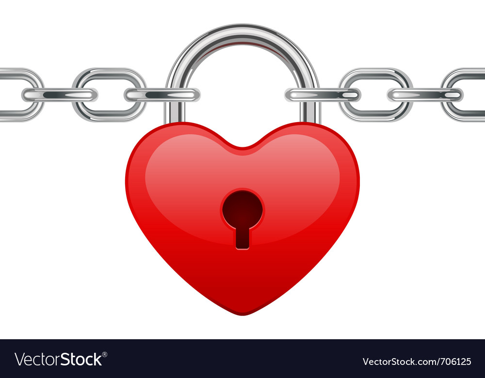 Shiny heart lock on chain vector image