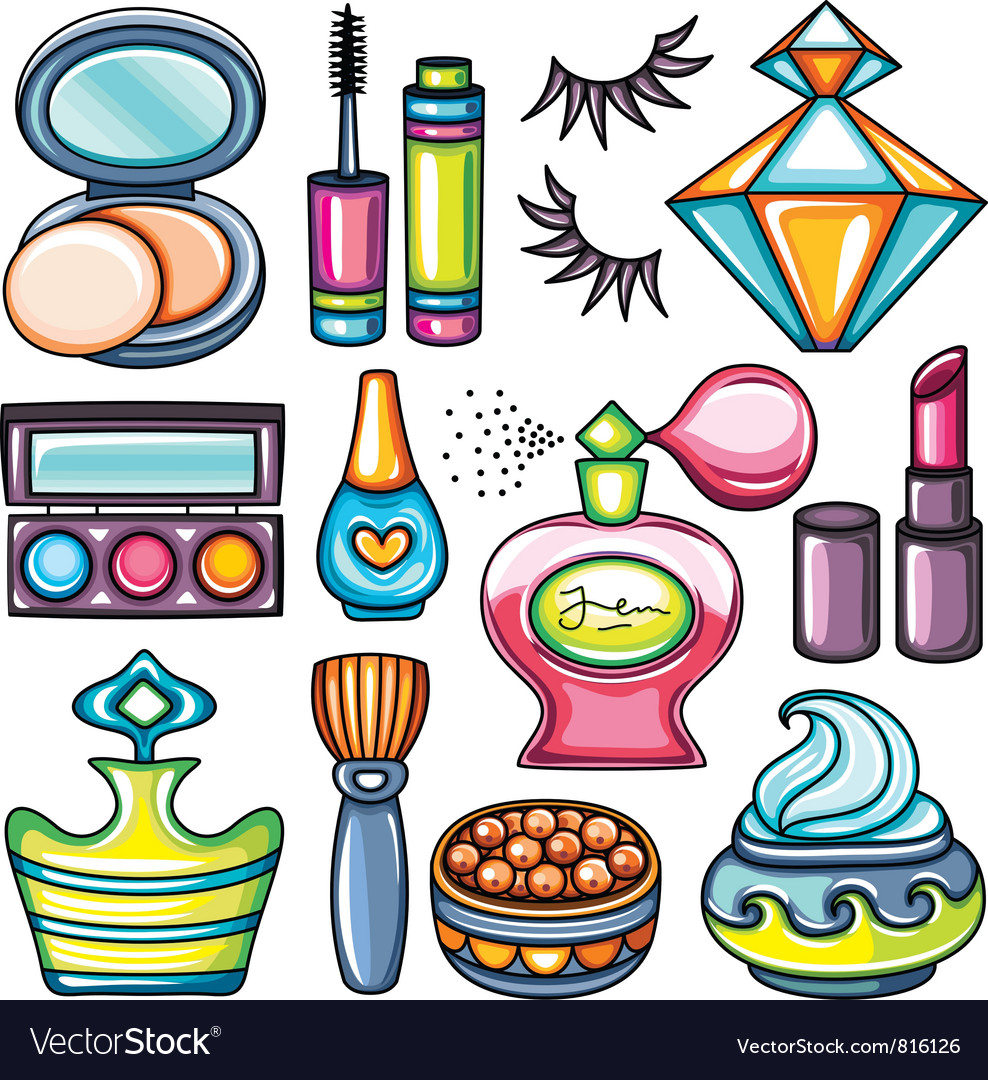Makeup icon set vector image