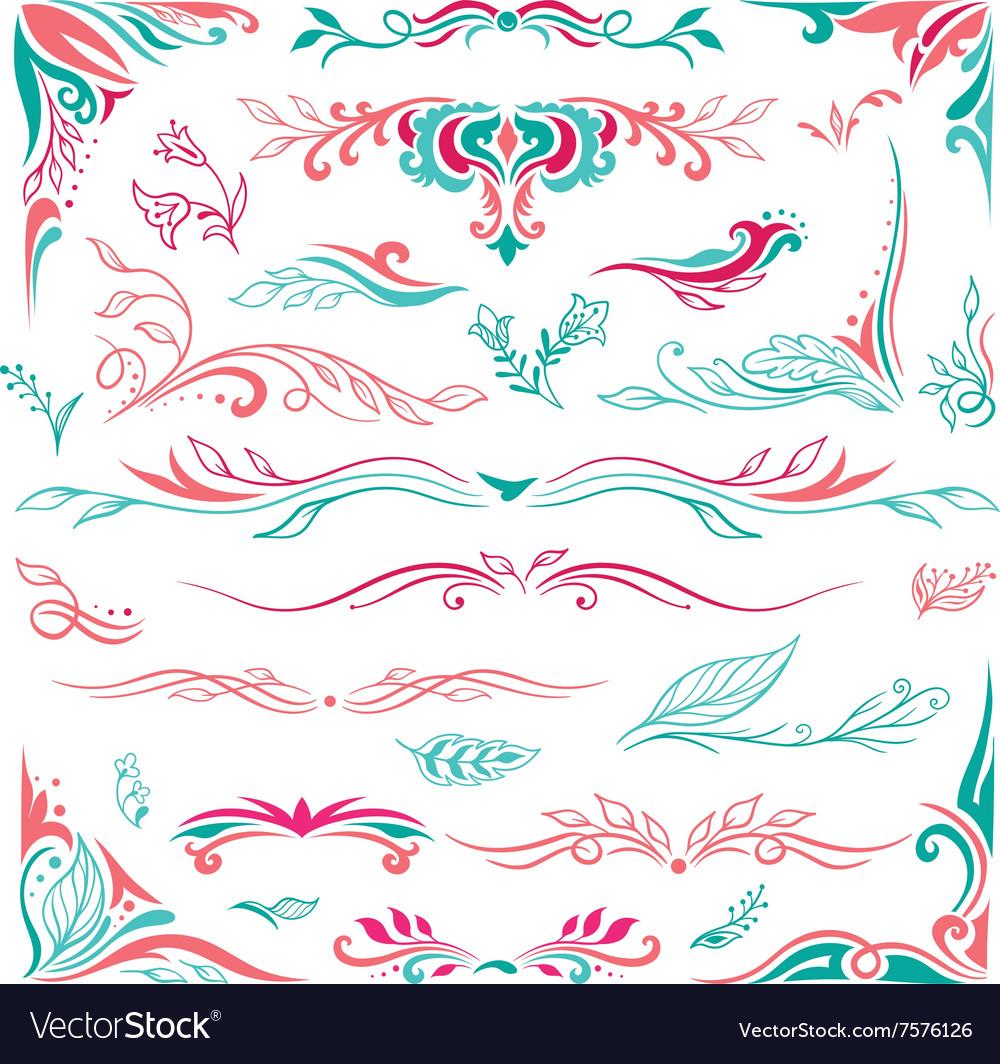 Spring Decorative Vignettes and Corners Set vector image