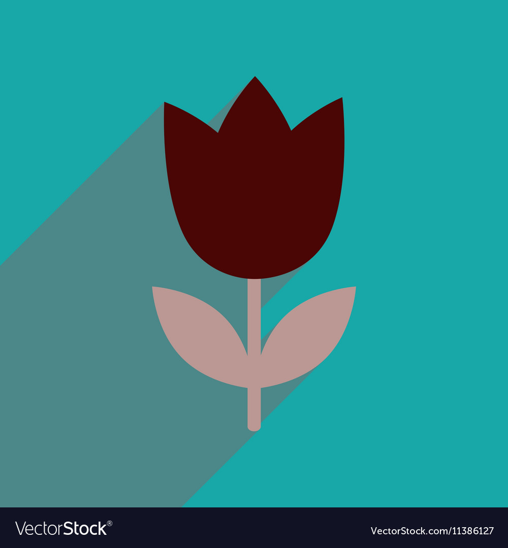Flat icon with long shadow tulip blooms