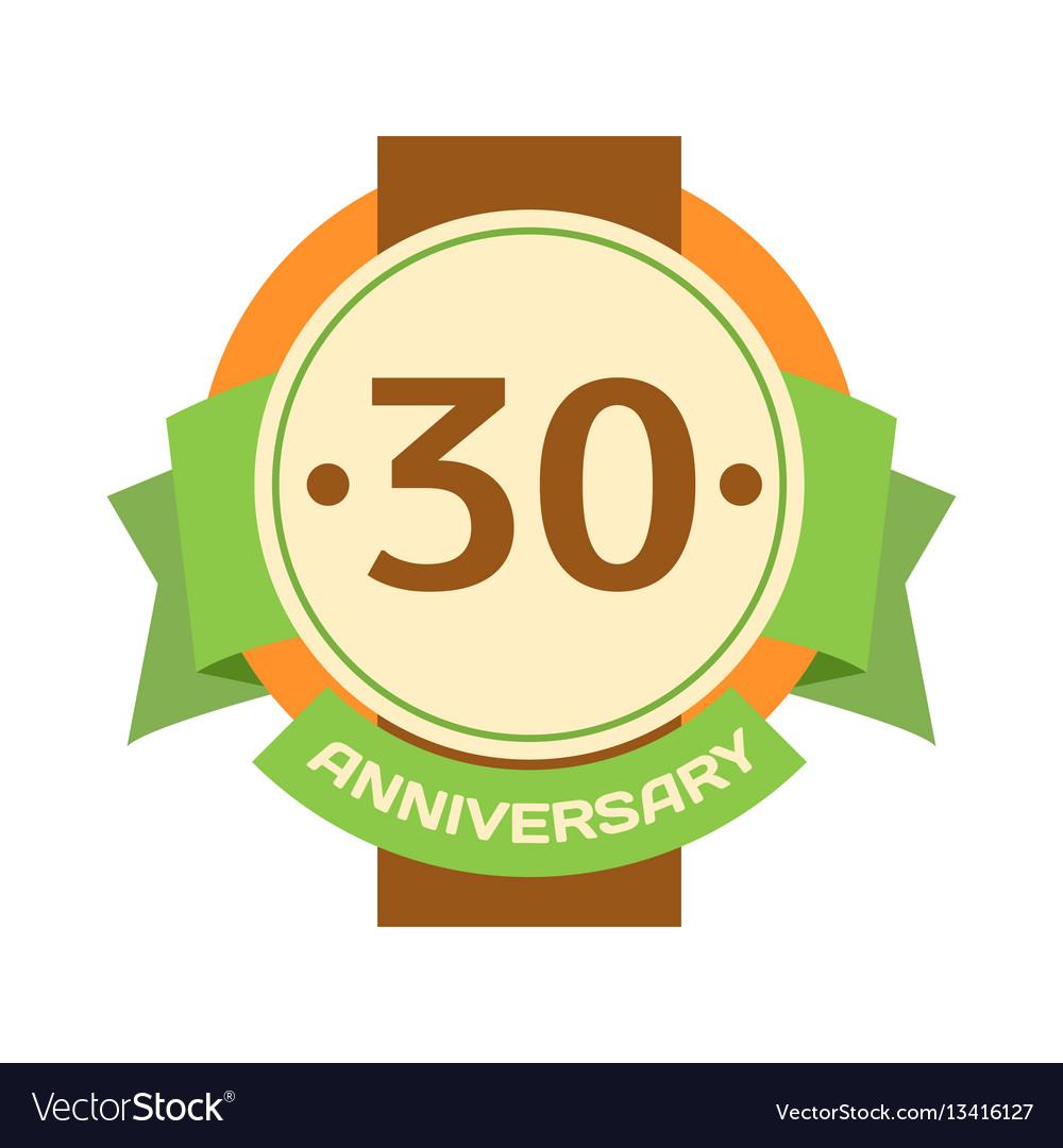 Birthday thirtieth badge banner design flat vector image