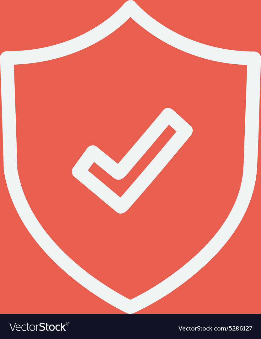 Shield with check mark thin line icon vector image