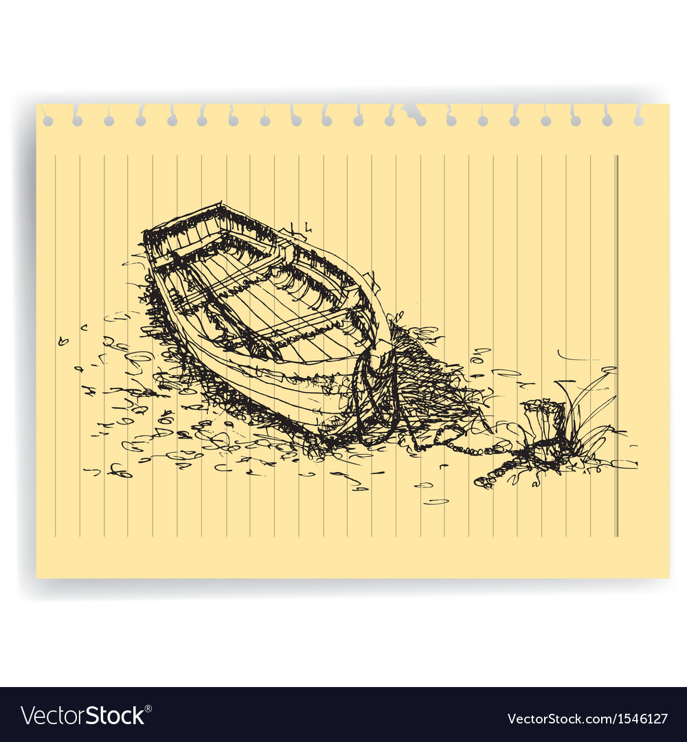 Sketch drawing boat on lined paper page vector image