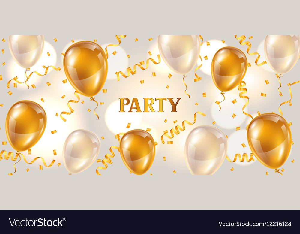 Celebration party banner with golden balloons and vector image