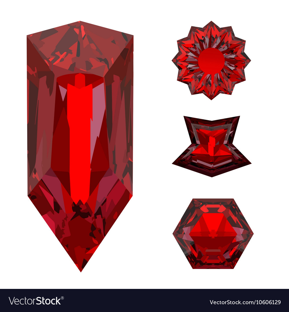Close-up of a red ruby crystal isolated on a white vector image