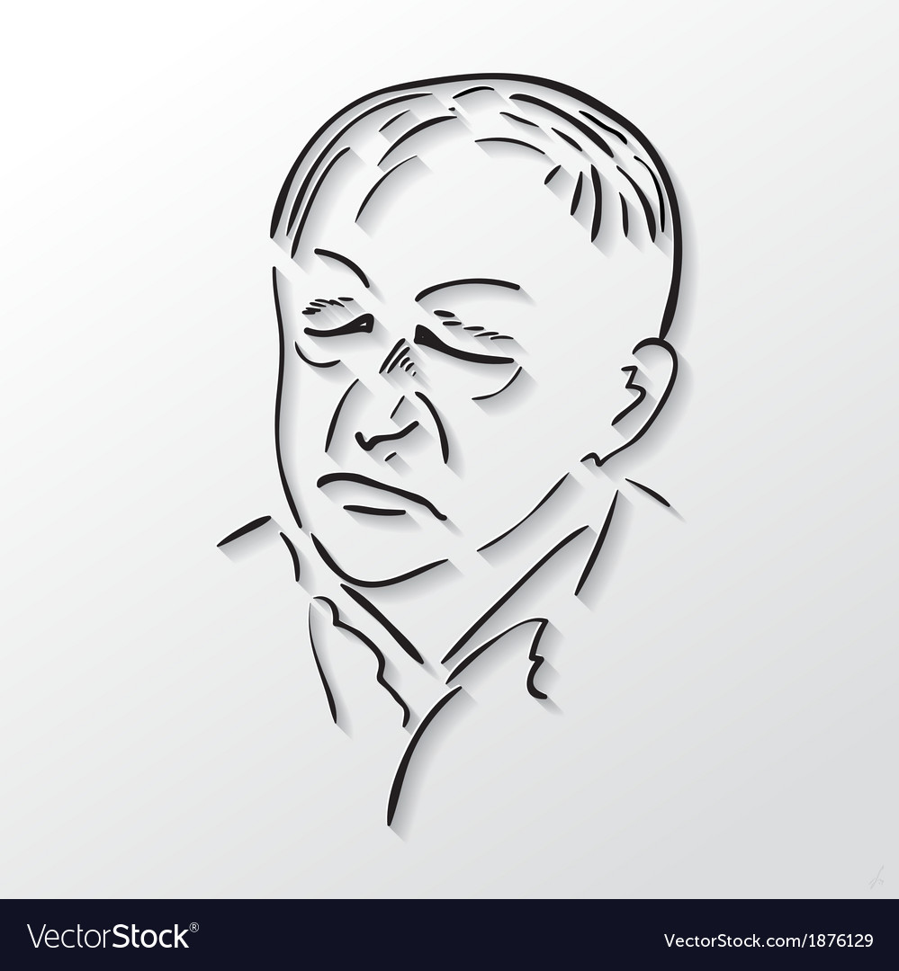 Drawing faces old men with eyes closed vector image