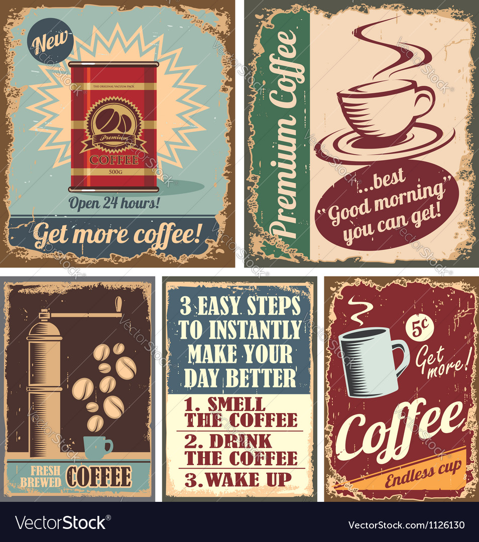 Vintage coffee posters and metal signs vector image