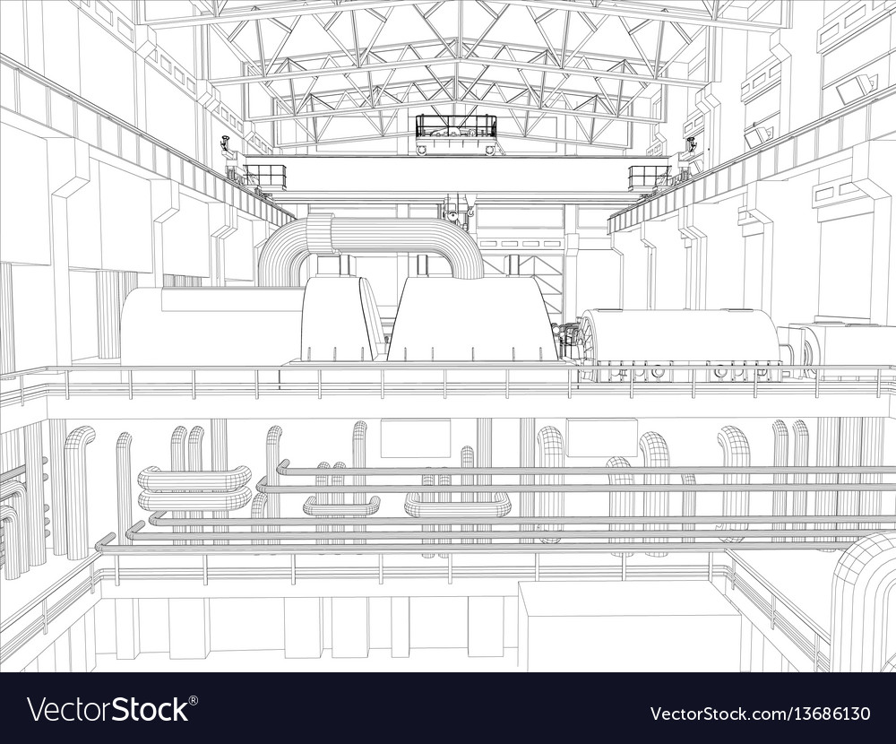 Gantry crane in a factory environment wire-frame vector image
