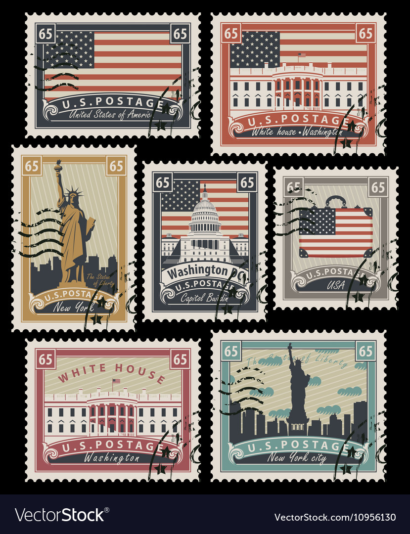 Stamps with America landmarks vector image