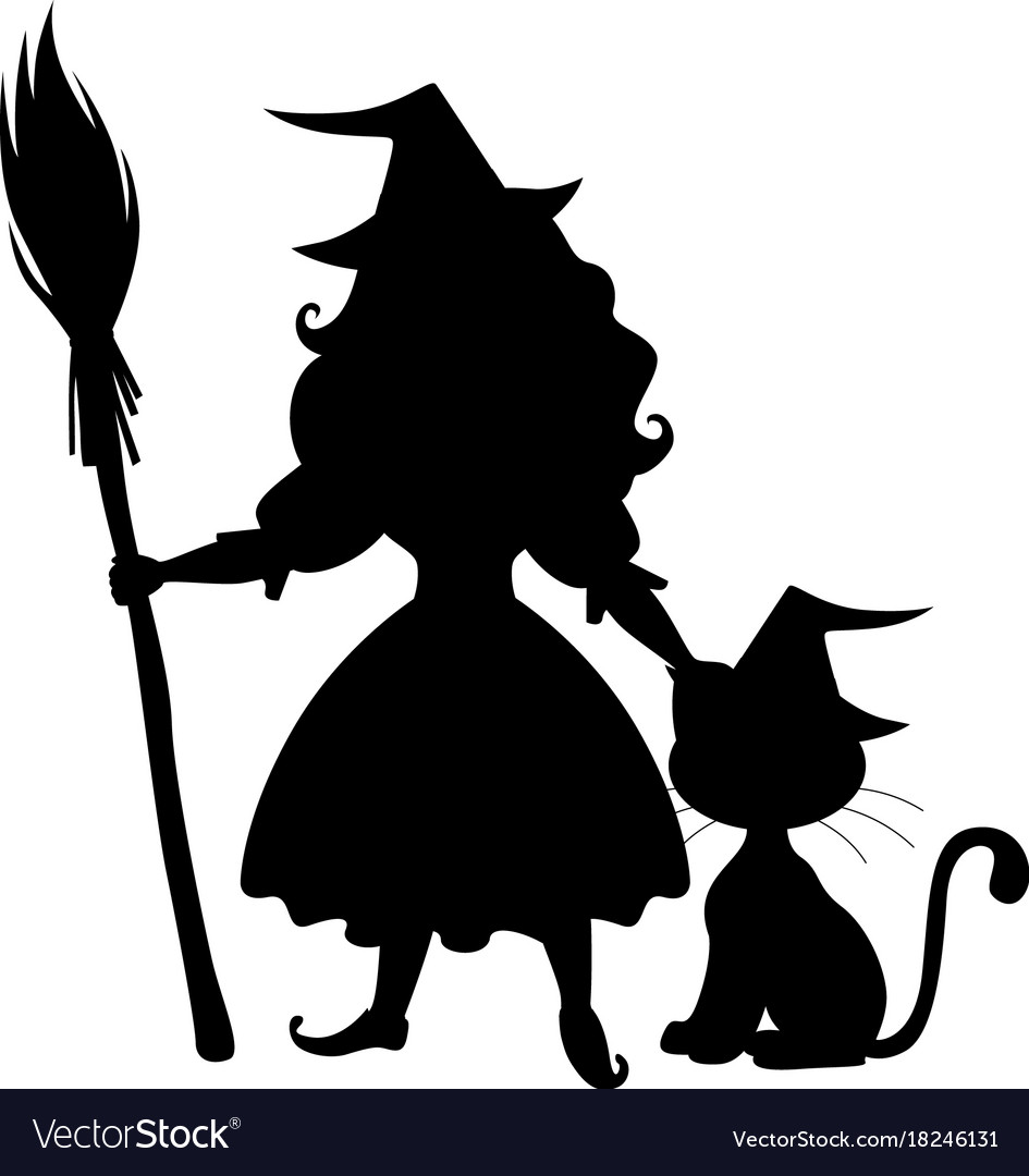 Cute halloween witch and cat silhouette Royalty Free Vector
