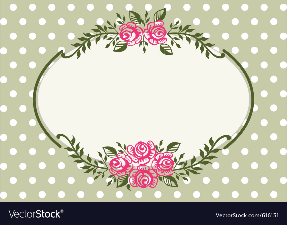 Vintage roses green frame vector image