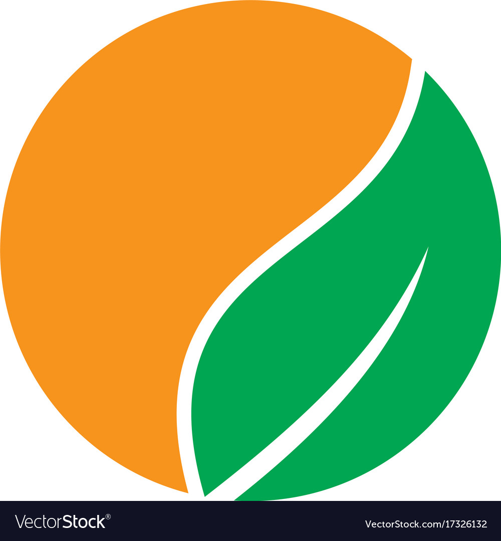 orange ball logo with green leaf 12000 vector logos