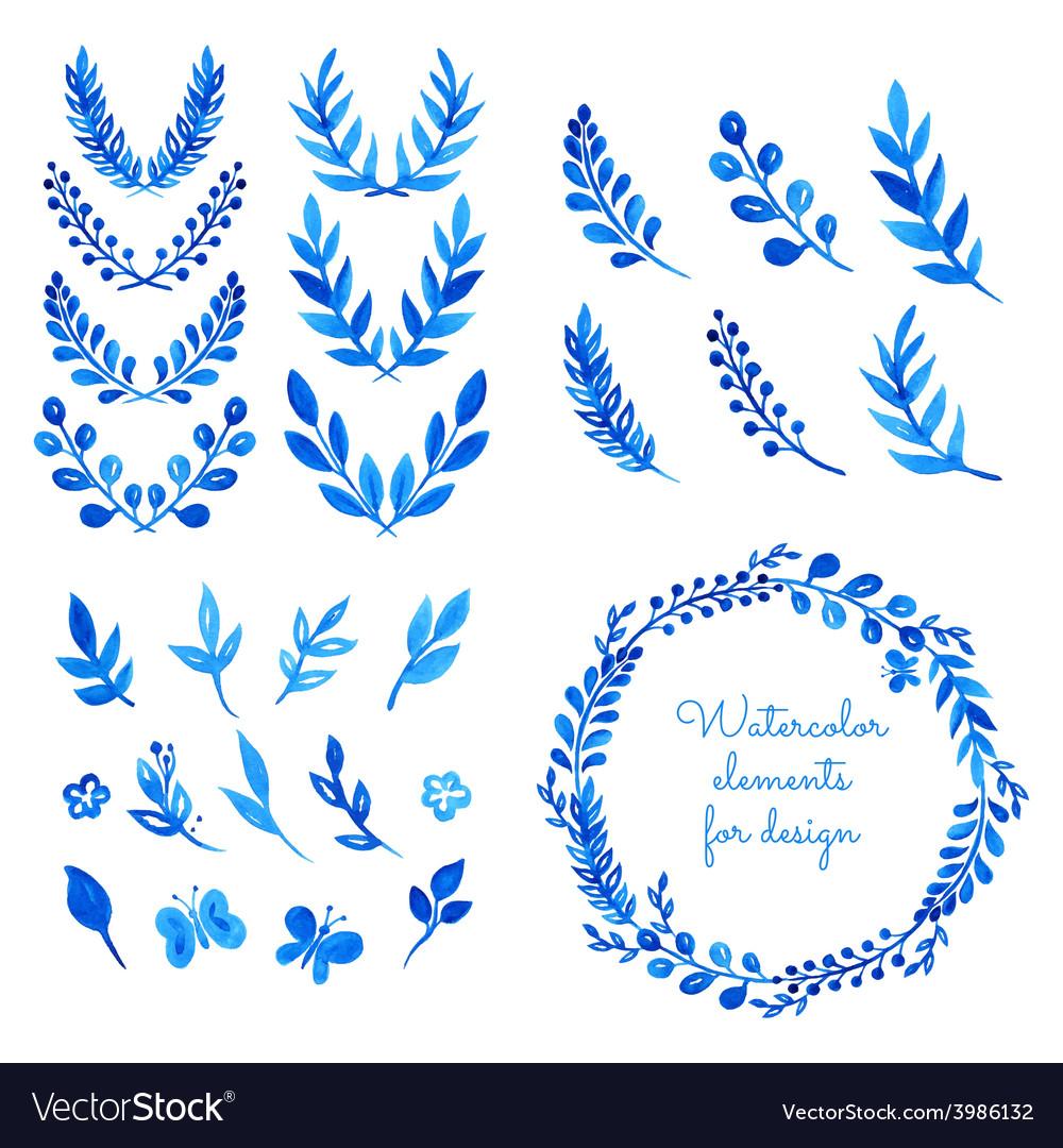 Watercolor elements vector image