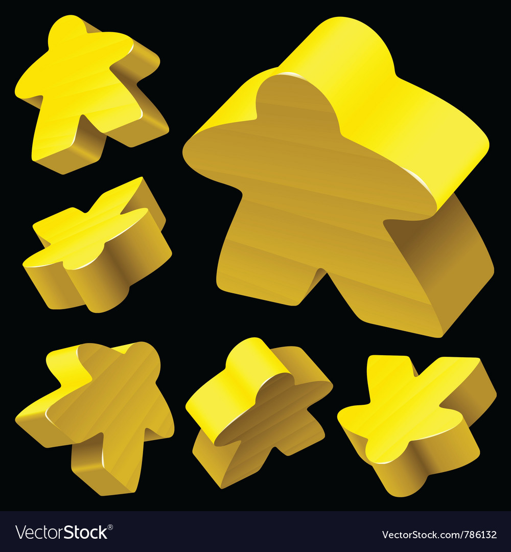 Yellow wooden meeple set vector image