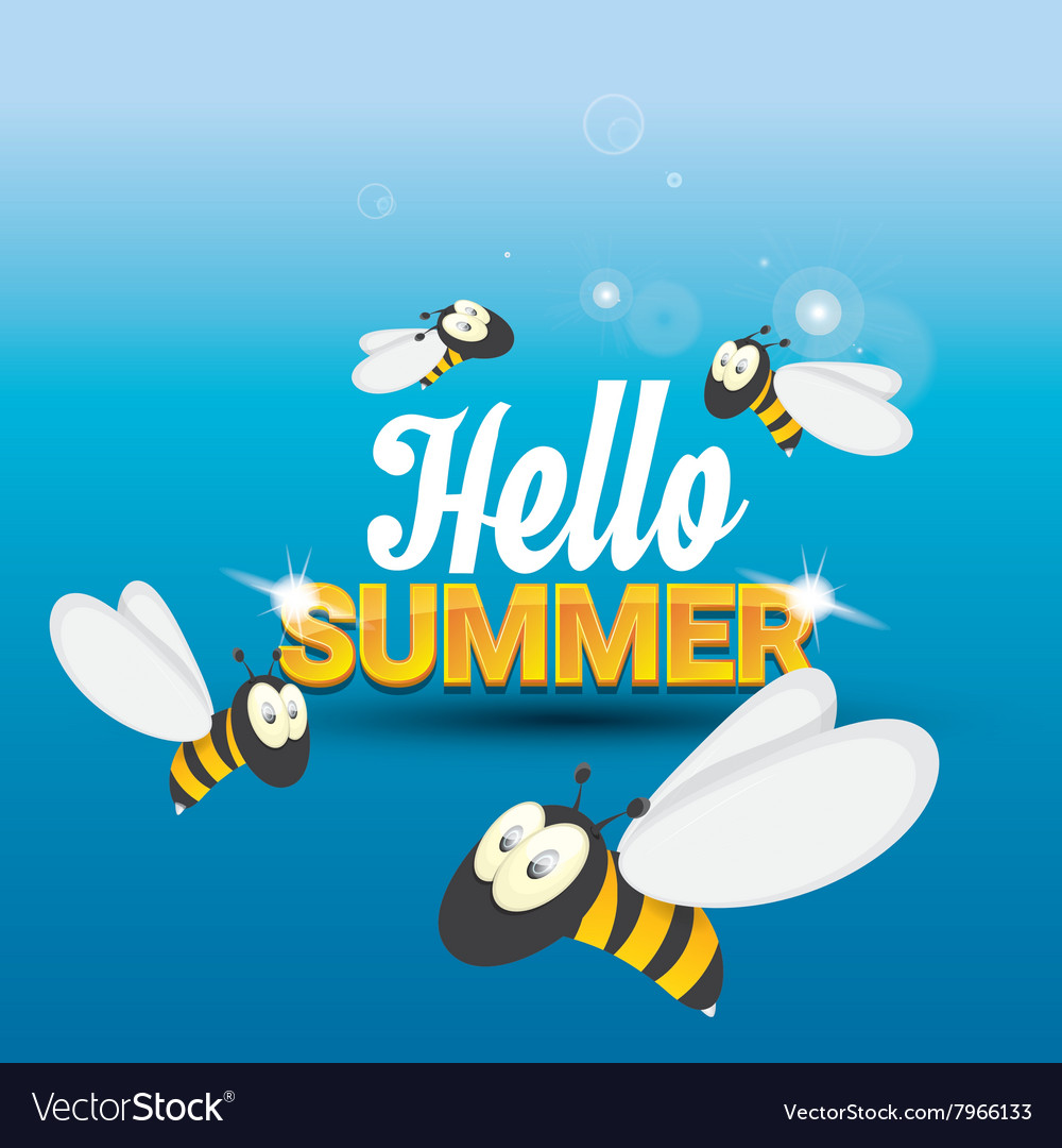 Hello Summer Background Funny Cartoons Bee Vector Image