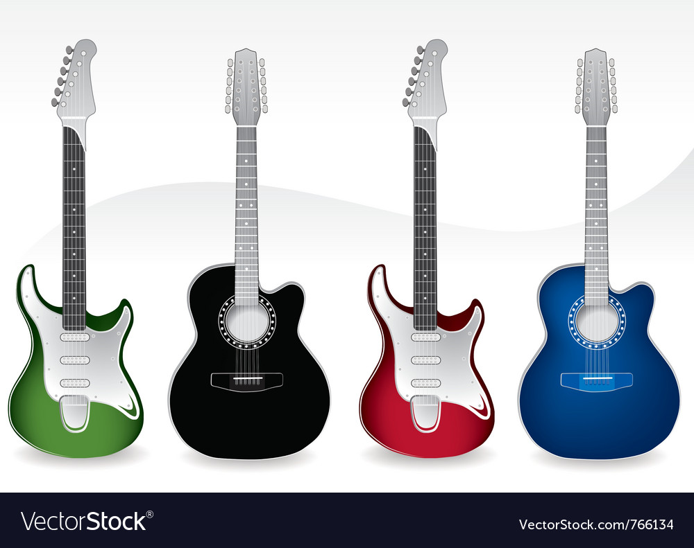 Four guitars vector image