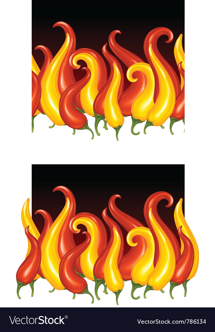 Red hot chilli pepper in the shape of fire vector image