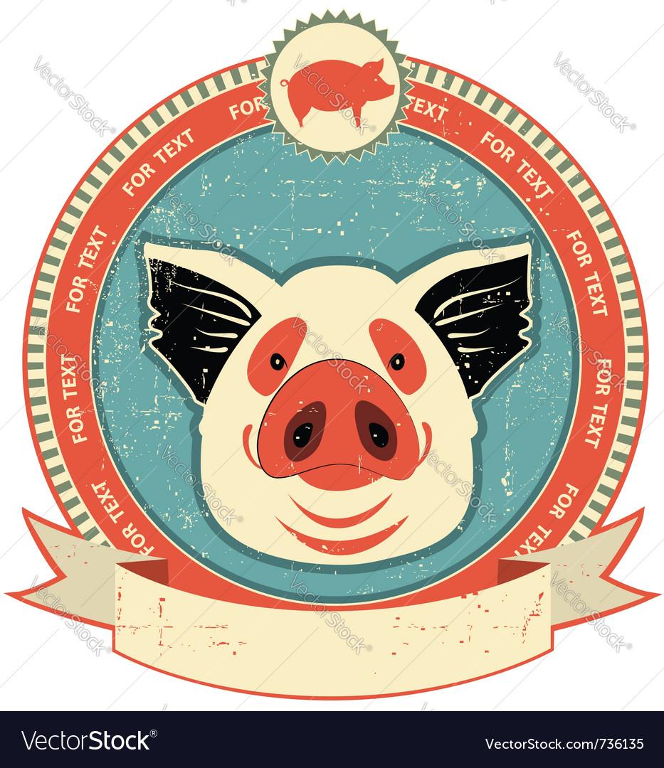 Pig head label vector image