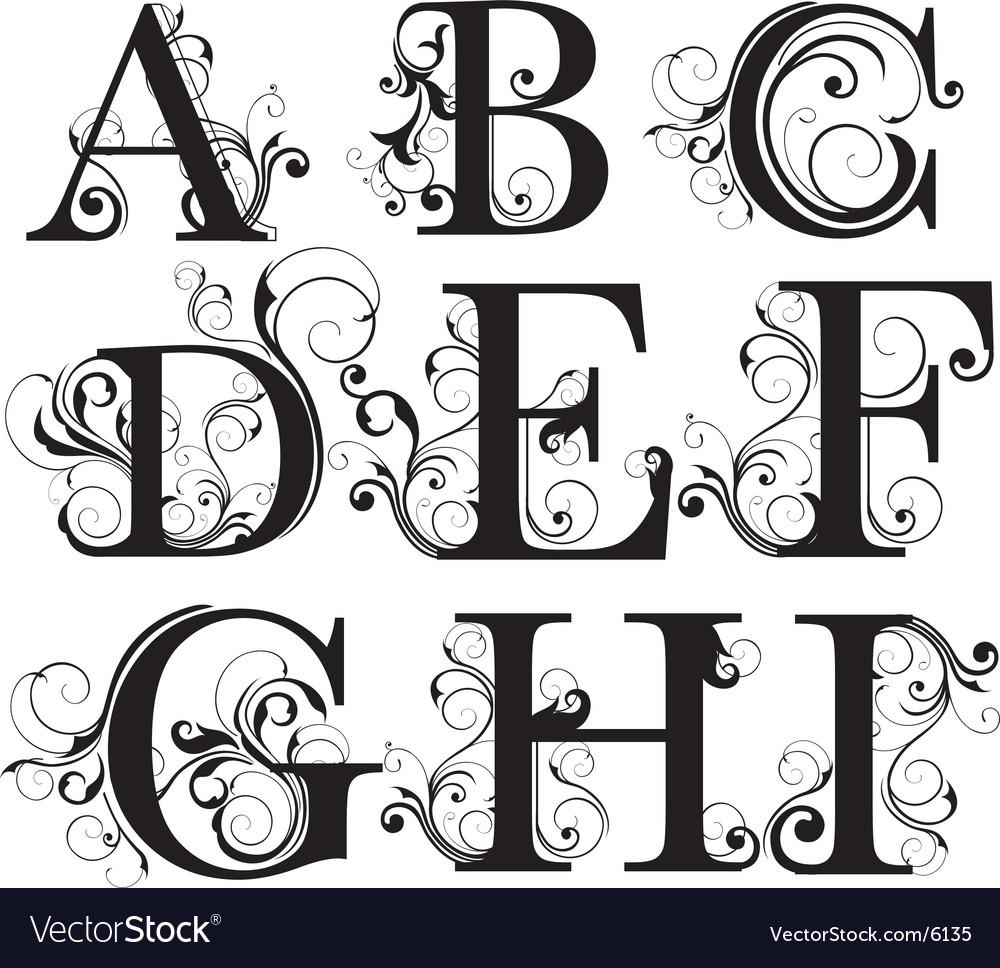 Script capitals vector image