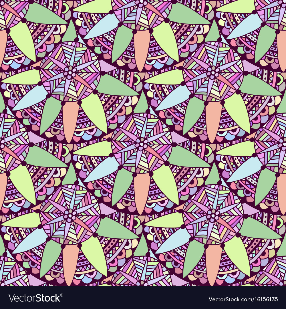 seamless doodle floral background in tribal vector image