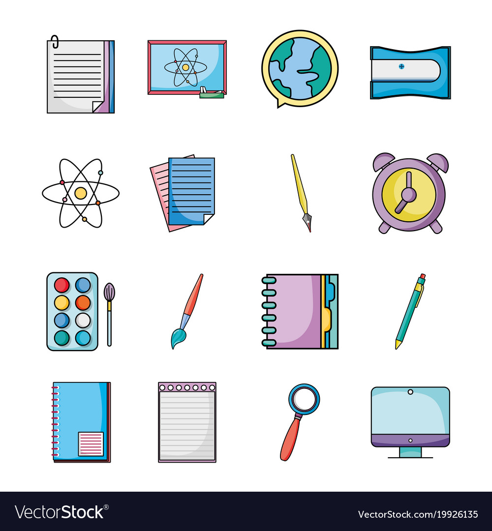 Set education school utensils icons royalty free vector set education school utensils icons vector image voltagebd Images