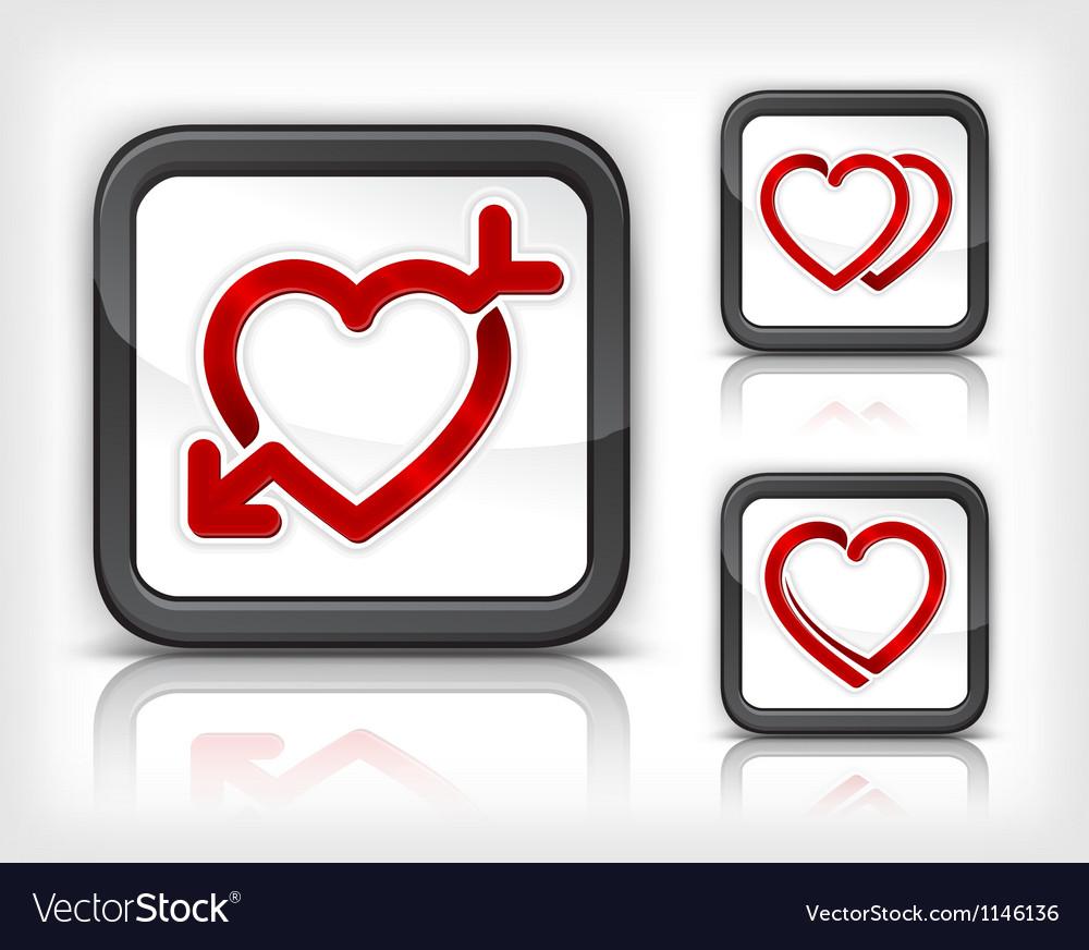 Three heart button vector image