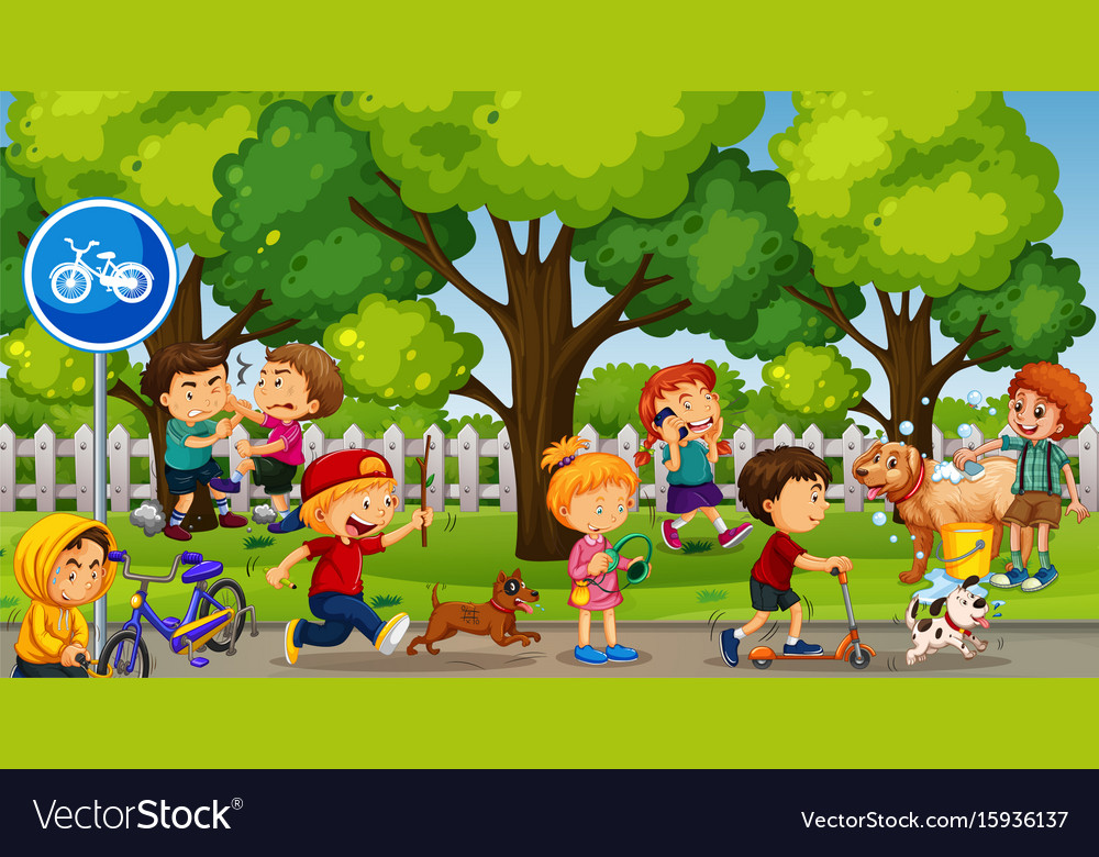 Park scene with kids playing and fighting vector image