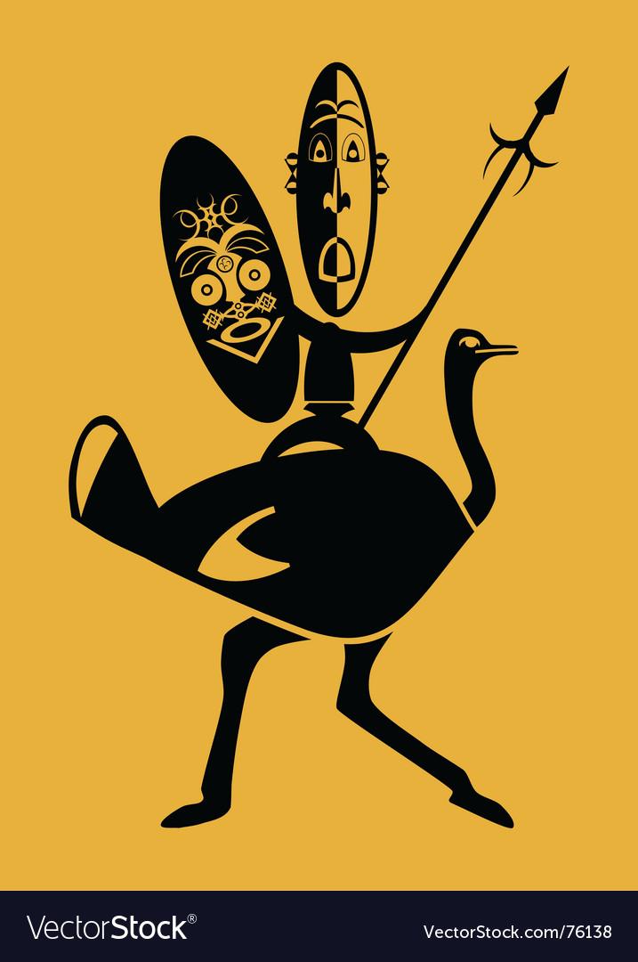 Warrior on ostrich Vector Image