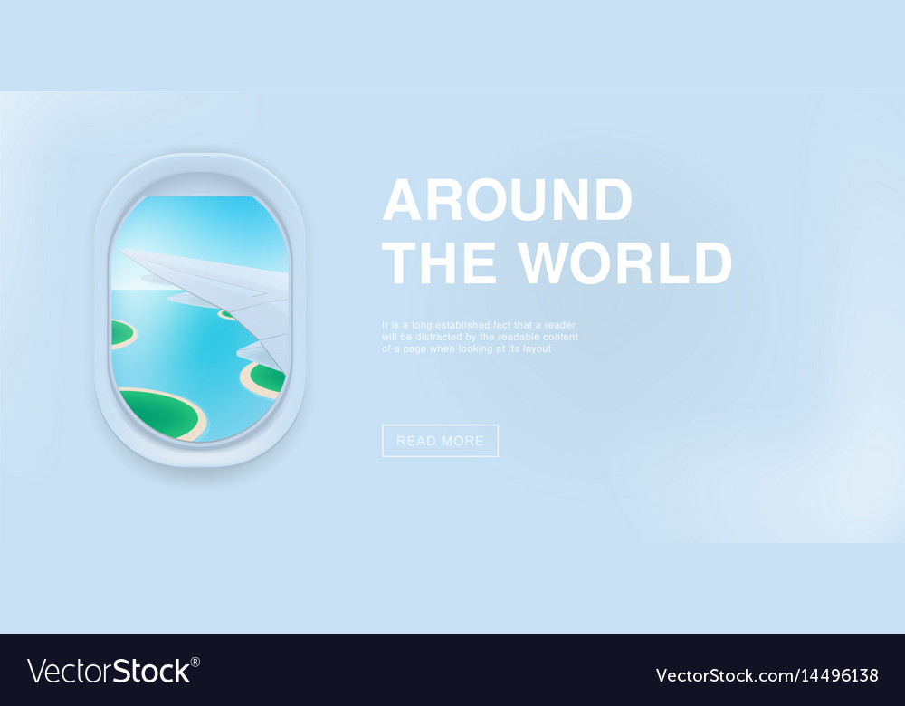 Banner with airplane window cartoon flat vector image