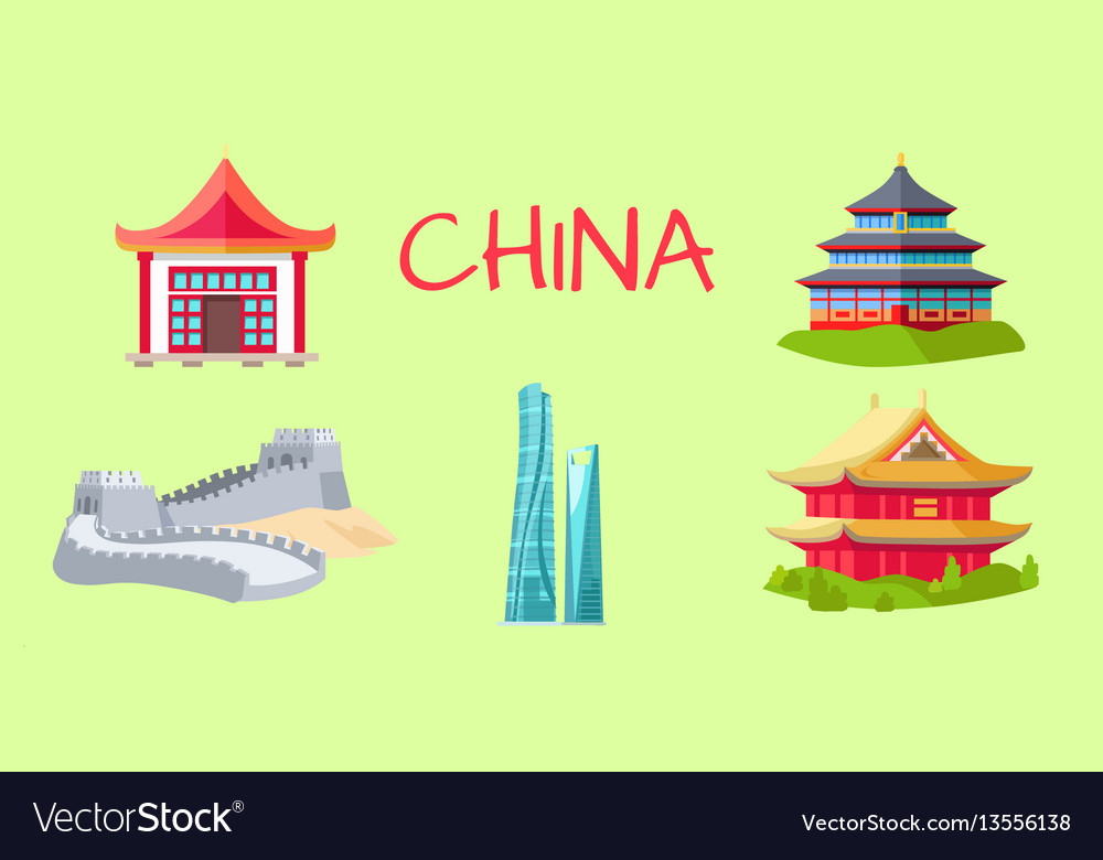 China travelling elements for tourists on green vector image