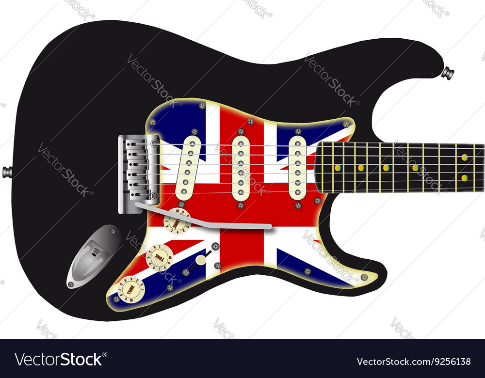 Union Jack Guitar vector image