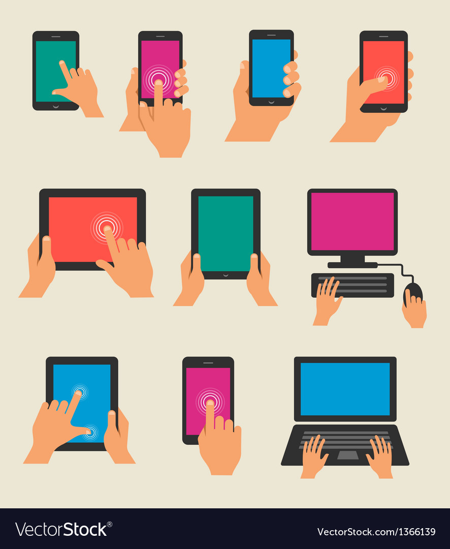 Set of hands holding tablet and smart phone vector image