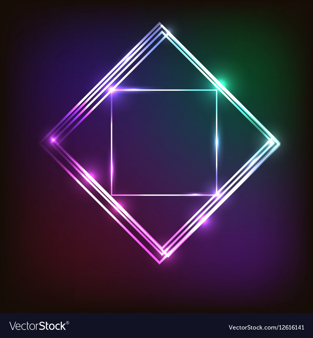 Abstract colorful neon background with squares vector image