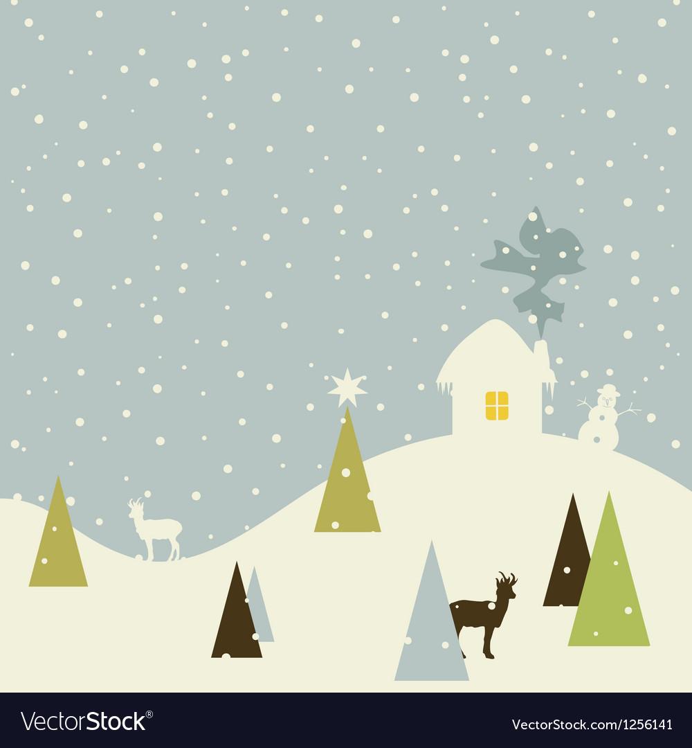 Christmas small house vector image