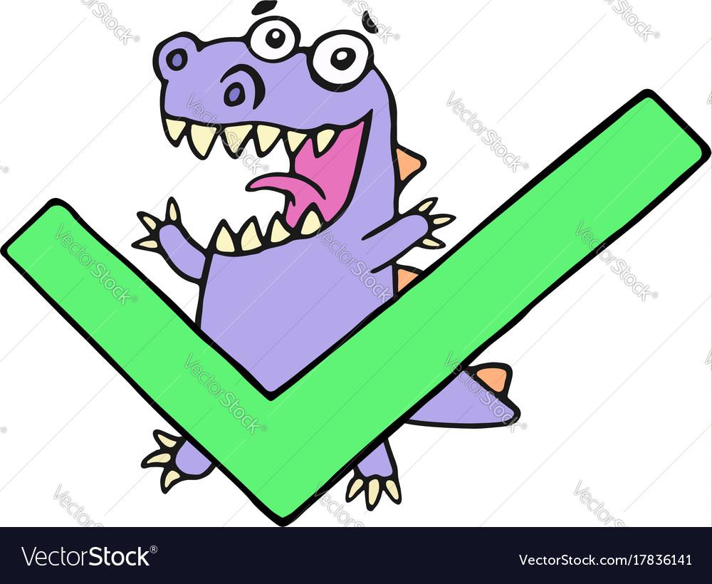 Happy dragon and big green tick vector image
