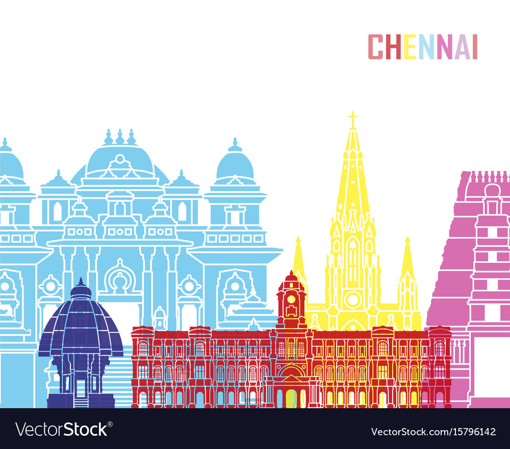 Chennai skyline pop vector image