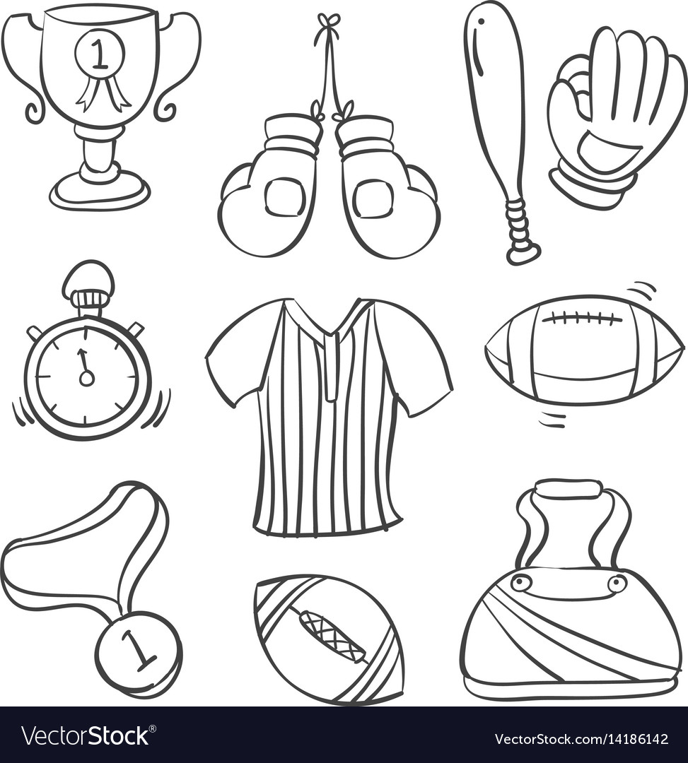 Doodle of sport equipment black white vector image