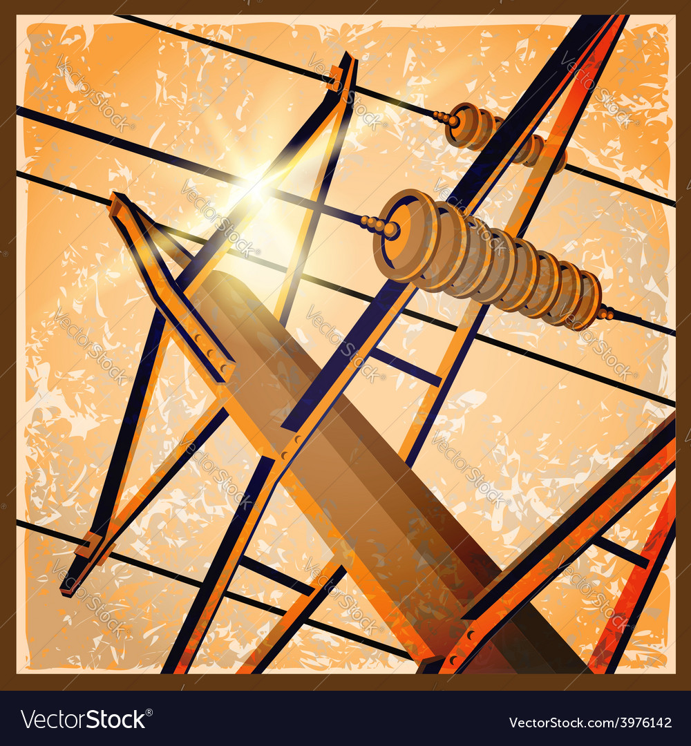 Old poster with a high voltage lines vector image