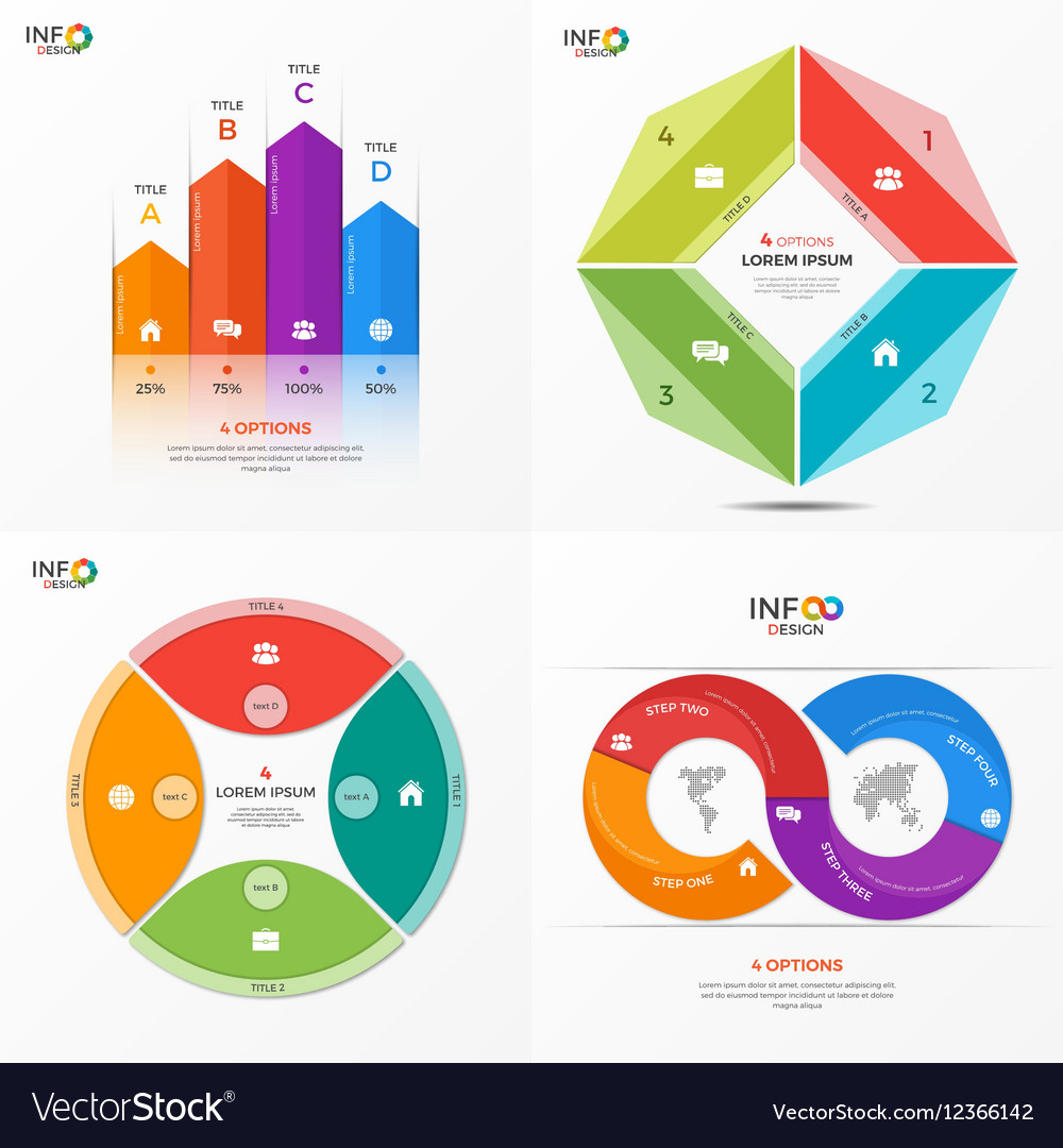 Set of infographic templates with 4 options vector image