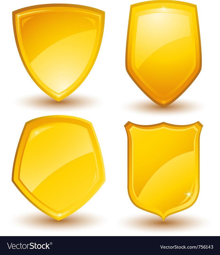 Golden shields vector image