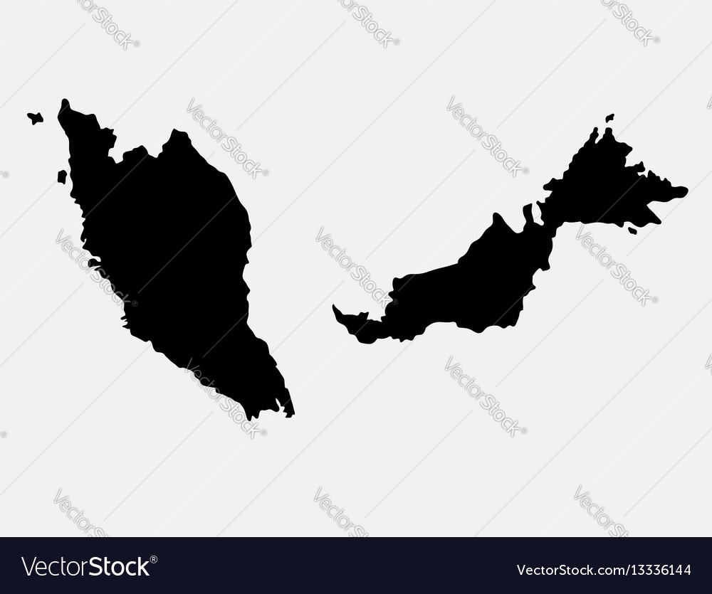 Malaysia Island Map Silhouette Royalty Free Vector Image - Map silhouette