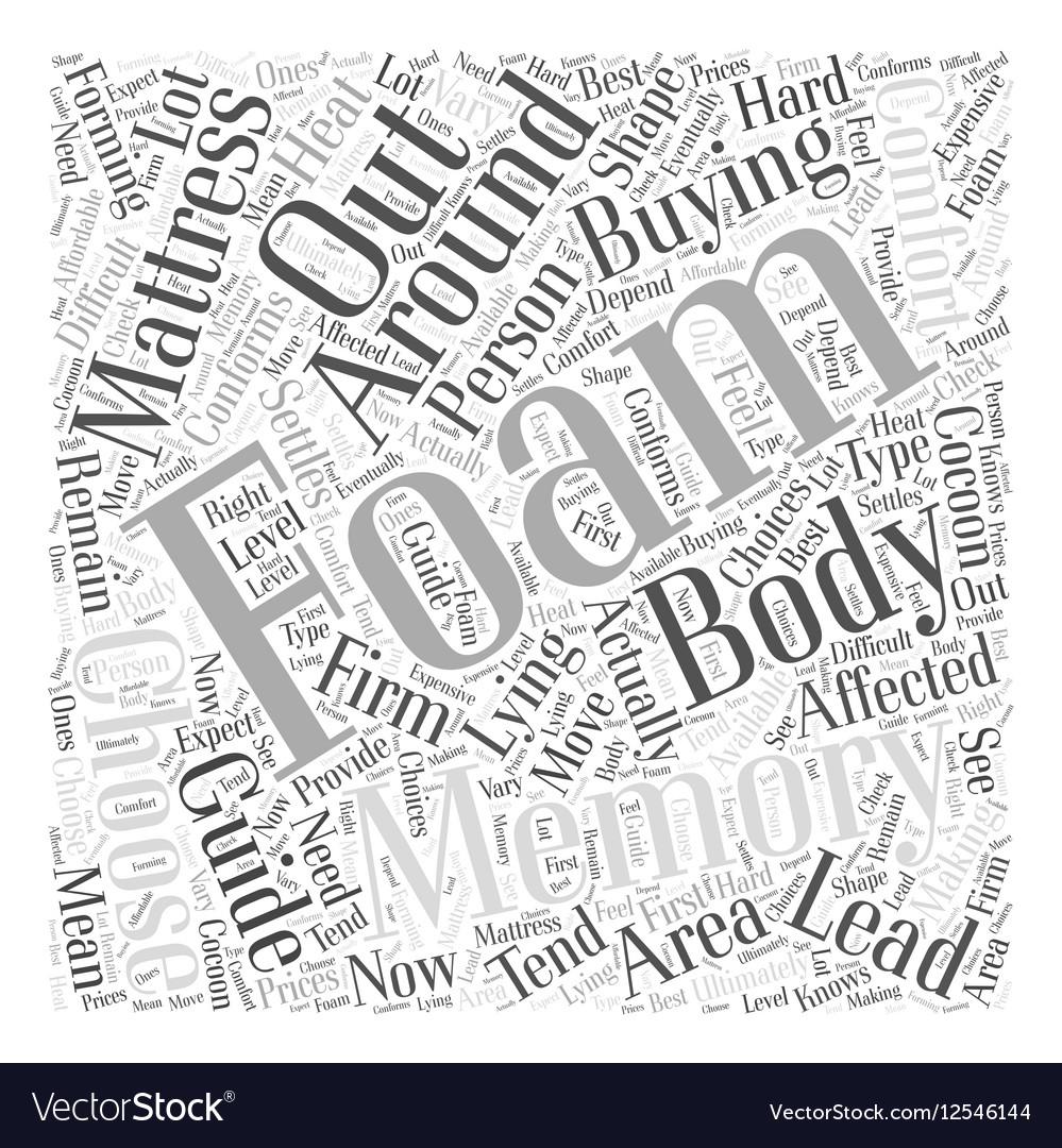 memory foam mattress buying guide word cloud vector image