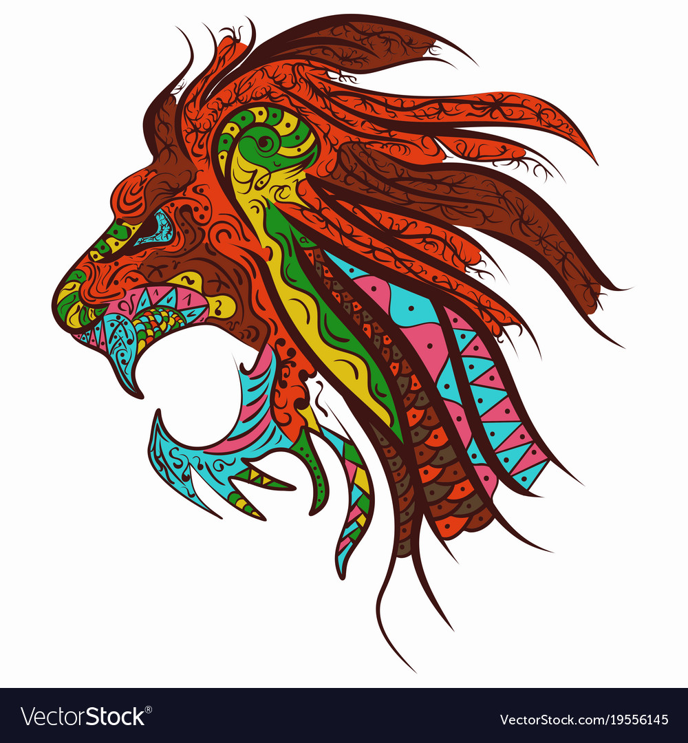 Patterned head of the lion tattoo design zentangle vector image